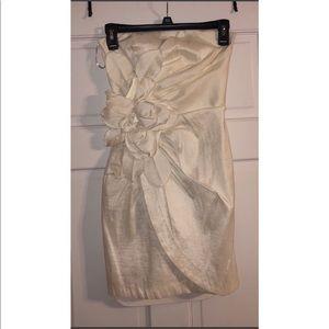Caché Strapless Ivory Cocktail Dress